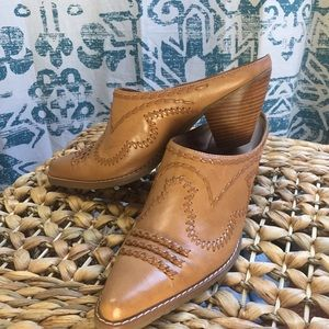 Tan Leather Mule with Stacked Heel